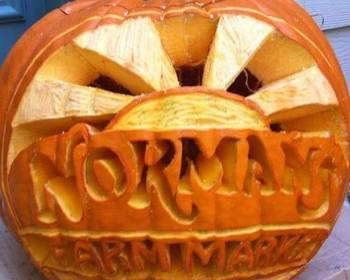 Market card carving pumpkin normans