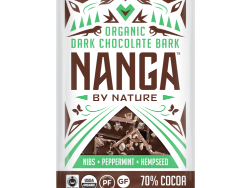 Peppermint Nibs and Hempseed Organic Dark Chocolate Bark