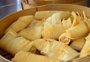 Display fresh traditional tamales