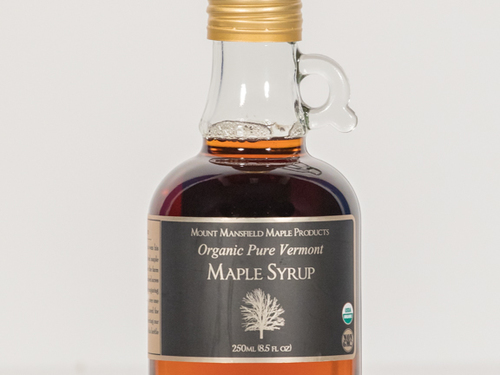 250ml Organic Pure Vermont Maple Syrup Glass Jug (Amber Rich)