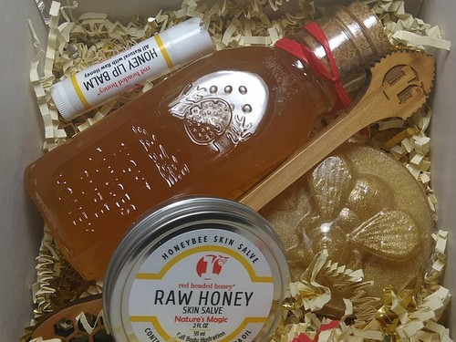 Honey Gift Kit with 8 oz Antique Honey Jar and Body Care Products