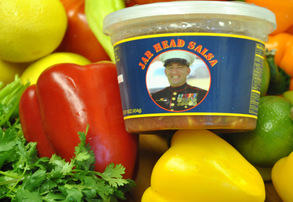 Display jar head salsa snack kit