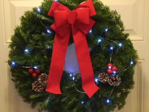 Balsam Fir Holiday Wreaths with Bow and Lights