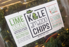 Display lime coconut kale chips