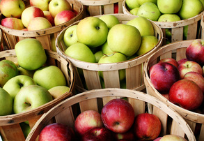 Display bushel of apples