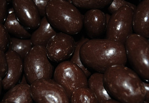 Display dark chocolate covered almonds