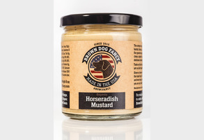 Display brown dog fancy organic dijon horseradish mustard