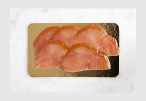 Display cold smoked wild alaskan coho lox