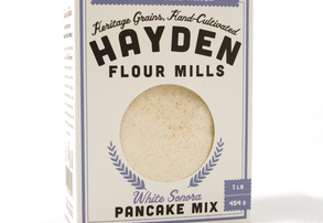Display white sonora pancake mix white background